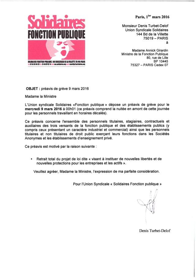 Préavis de grève 9 mars 2016