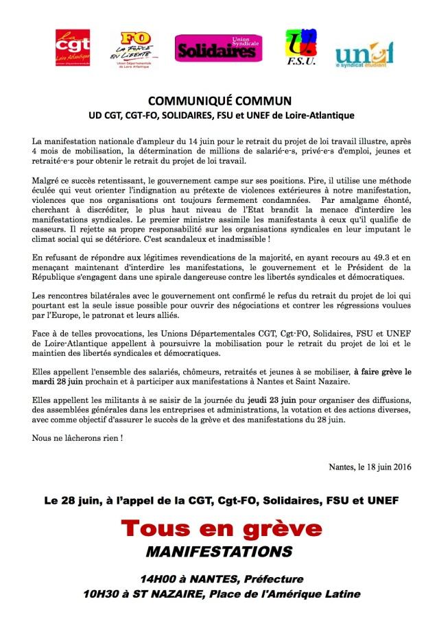 communiqué commun 28 juin 2016