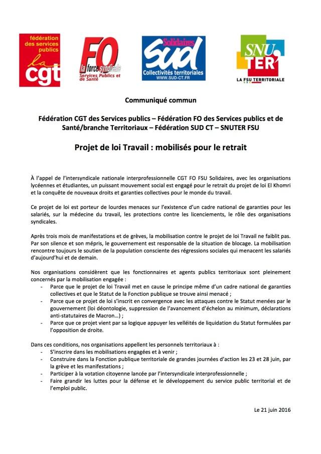 Communiqué unitaire FPT LOI TRAVAIL