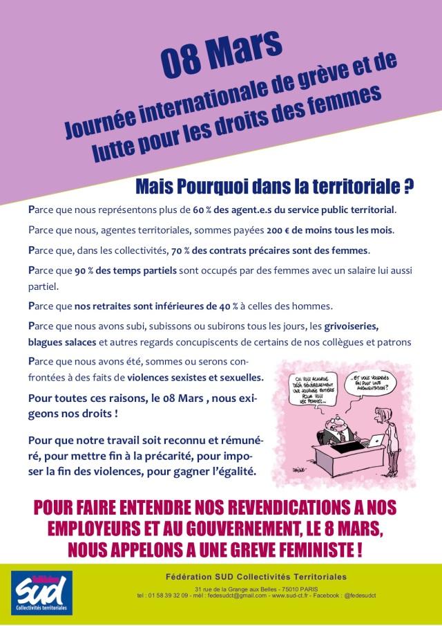 POUR FAIRE ENTENDRE NOS REVENDICATIONS A NOS EMPLOYEURS ET AU GOUVERNEMENT, LE 8 MARS, NOUS APPELONS A UNE GREVE FEMINISTE !