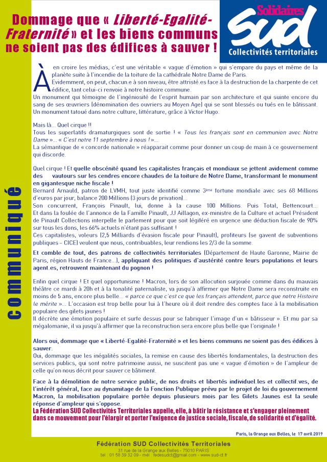 Communiqué de la fédération SUD Collectivités Territoriales