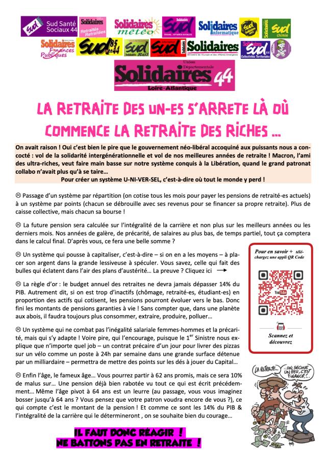 LA RETRAITE DES UN-ES S'ARRETE LÀ OÙ COMMENCE LA RETRAITE DES RICHES ...