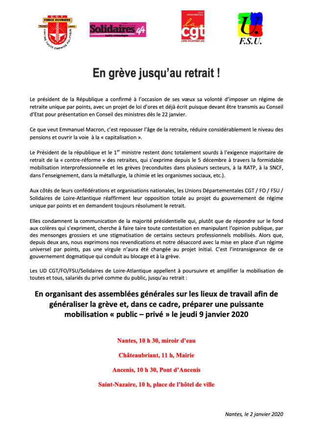 Grève 9 janvier Nantes
