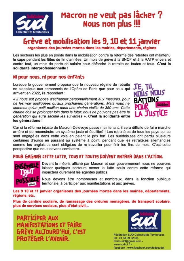Grève et mobilisation les 9, 10 et 11 janvier 2020