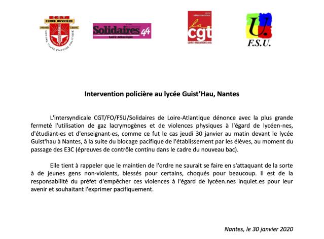 Intervention policière au lycée Guist'Hau, Nantes