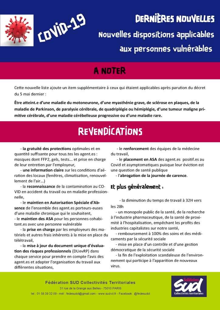 Le décret n°2020-1365 du 10 novembre 2020 et la circulaire de la DGAFP prise pour son application, dressent la nouvelle liste des pathologies rendant les personnes qui en sont atteintes, vulnérables et à risque grave si elles attrapent la COVID-19.