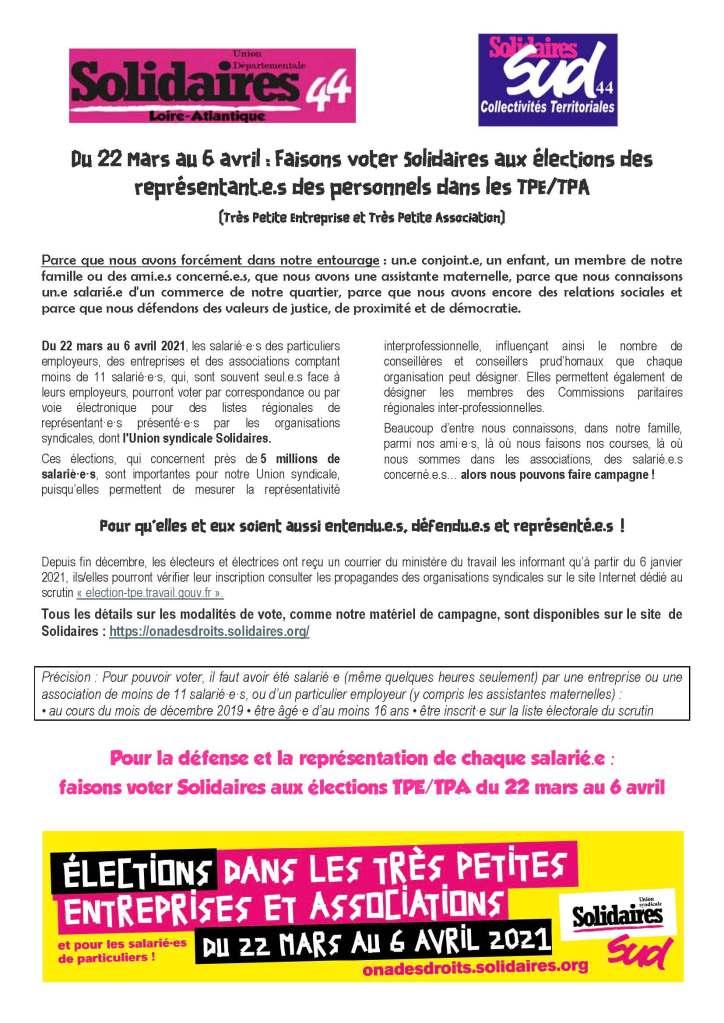 Du 22 Mars au 6 avril : Faisons voter Solidaires aux élections des représentant.e.s des personnels dans les TPE/TPA (Très Petite Entreprise et Très Petite Association)